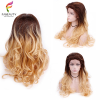 Ombre блондинка кружева парики для женщин Бразильский объемная волна Полный конец Синтетические волосы на кружеве человеческих волос парики