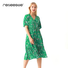 loose casual women dress 2019 new summer short sleeve v neck floral print ladies dresses mid-calf chic pleated green vestidos все цены