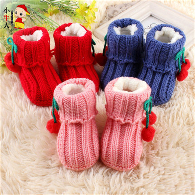 Lovely Baby Boy Girl Knitted Crib Shoes Infant Toddler Footwear Solid Cotton Cute High Quality Baby Shoes Winter 70A1047