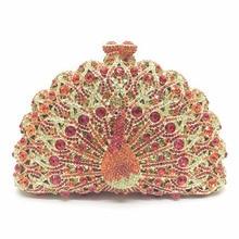 Bling Bling Women Rhinestone Purese Women Handbag Rhinestone Evening Clutch Bag Makeup Bag 3D Rhinestone Peacock Clutch Bag