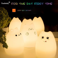 Cute Cat 3 Modes Portable Multicolor Silicone LED Night Lamp USB Rechargeable Sensitive Tap Control For