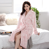 Flannel Bathrobe Ladies Women Men Sexy Sleeping Robe Floral Long Sleeve Warm Terry Towelling Bath Robes for Couple