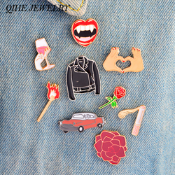 QIHE JEWELRY Pins and brooches Lips Wine Cigarette Matches Flower Rose Car Heart Brooches Badges Pins collection Women acc