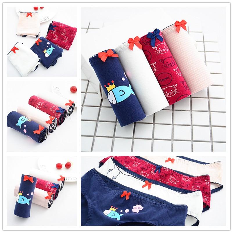 Buy SP&CITY Young Girl Student Cotton Panties Women Cotton Cute Underwear Cartoon Cat Fish Kawaii Underwear Female Seamless Briefs