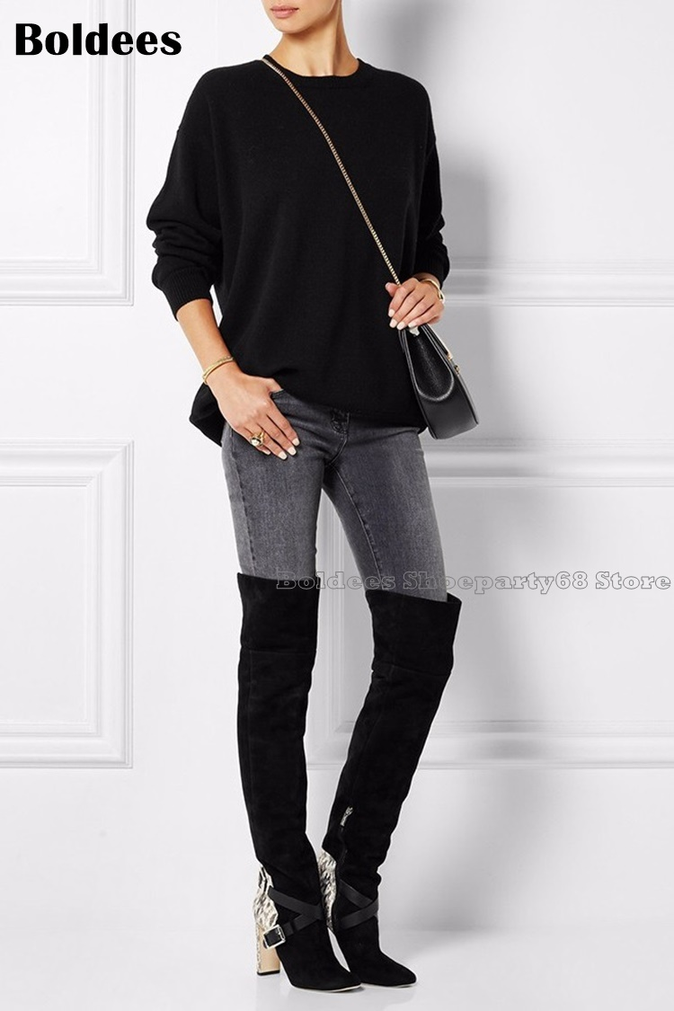 Fashion Snake Skin Printed Belt Designer Europe Black Over The Knee Boots Women Winter Shoes цена 2017