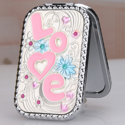 "Rectángulo de aleación de mini portátil plegable redondeados ""amor"" de plata de doble cara cosméticos/maquillaje (orange embalaje caja)"