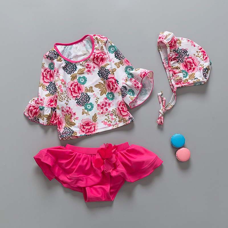 2018 Two-Piece Girls Swimwear Rose Red Cute Floral Print Long Sleeves Children Girls Swimsuit UPF50+ Beachwear Swimming Suits