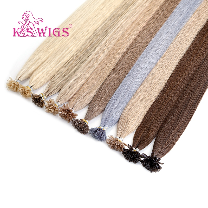 K.S WIGS Keratin Pre Bonded Capsule Nail U Tip Remy Human Hair Extensions Double Drawn Straight Fusion Hair 16'' 20'' 24'' 28''