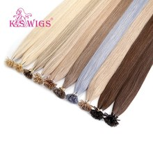 K.S WIGS Keratin Pre bonded Capsule Nail U Tip Remy Human Hair Extensions Double Drawn Straight Fusion Hair 16'' 20'' 24'' 28''(China)