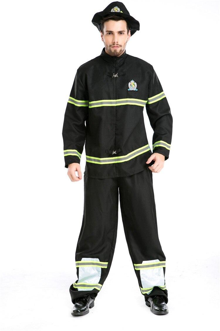 Adult Man Black Fireman Uniform Halloween Firefighters Cosplay Fancy Dress