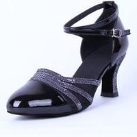 Girls Modern Dance Shoes Closed Toe Middle Heel Ladies Sandals Ballroom Dancing Shoe Waltz Viennese Waltz