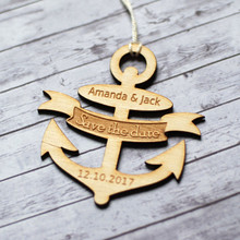 50pcs Personalized Customized Name Date Anchor Shape Wooden Wood Save the Date Cards Tags Wedding Party Decorations DIY Favors