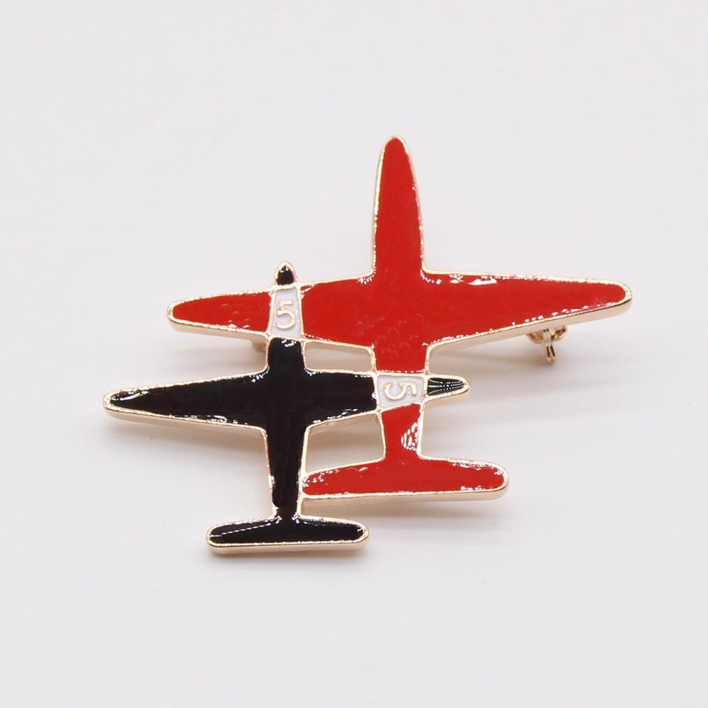 ᗕModa broche de avión para las mujeres pista grande color del oro ...