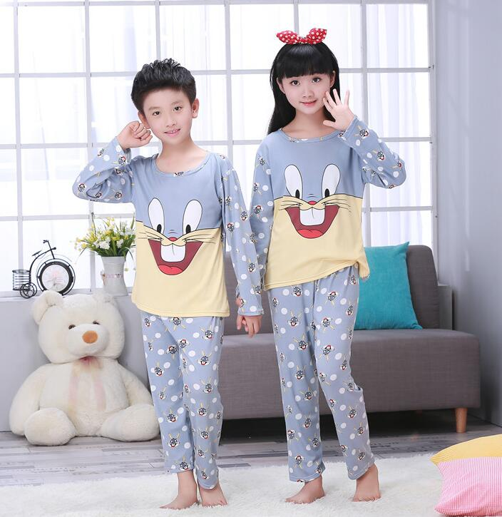 Pyjama-garnituren Cartoon Kinder Pyjamas Sets Baumwolle Jungen Nachtwäsche Anzug Herbst Frühling Mädchen Pyjamas Langarm Tops Hosen 2 Stücke Kinder Kleidung