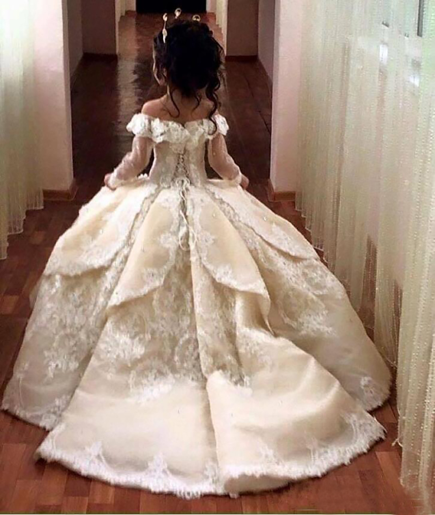 White   Flower     Girl     Dresses   with Train Satin Kids Ball Gowns Party   Dress     Girls   7 8 9 Little Bride Holy First Communion   Dress   Gown