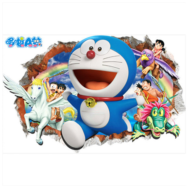 Doraemon Anime Posters Through Wall Creative Stickers For Kids Rooms Decoration Baby Favorite 3d Art Decals