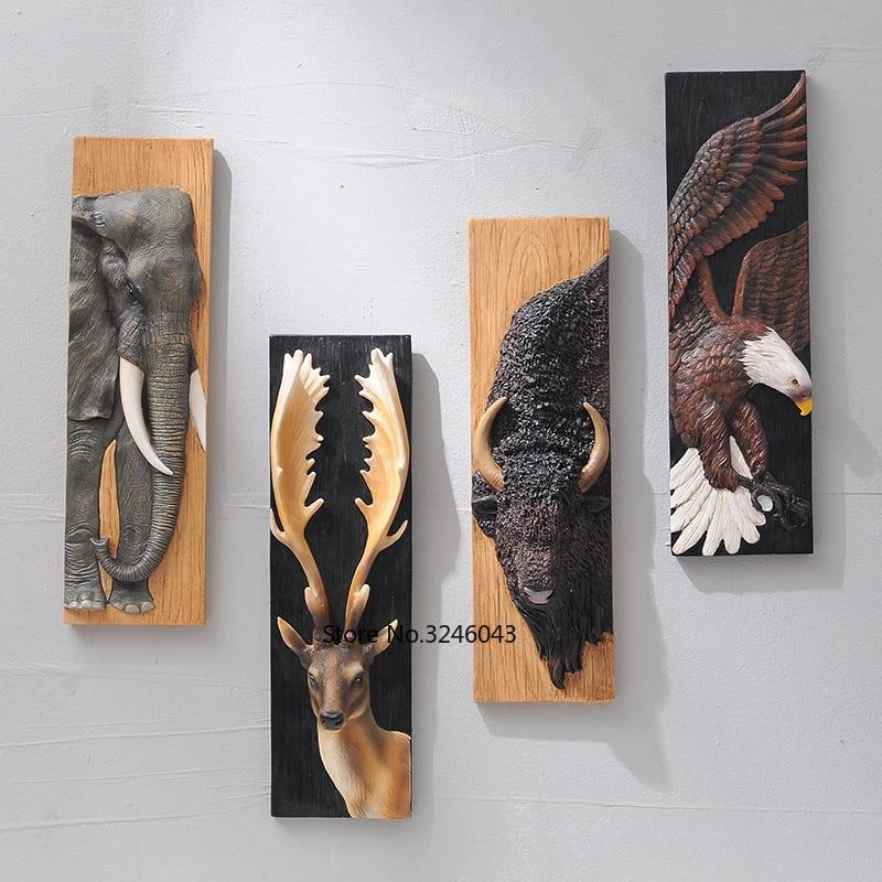 American deer head animal head wall hanging creative retro three dimensional entrance wall pendant living room
