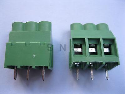 150 pcs Green 3 pin 6.35mm Screw Terminal Block Connector Wire Cage Type DC635 20078 2 pin pcb screw terminal block connectors green 15 piece pack