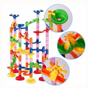 105 sztuk DIY marmur budowlany Race Run Maze Balls wysokiej jakości STEM zabawka edukacyjna Maze Balls Track Building Blocks Educational tanie i dobre opinie HF000088 Z tworzywa sztucznego No eat 5-7 lat 2-4 lat 8 ~ 13 Lat Transport Haifeng