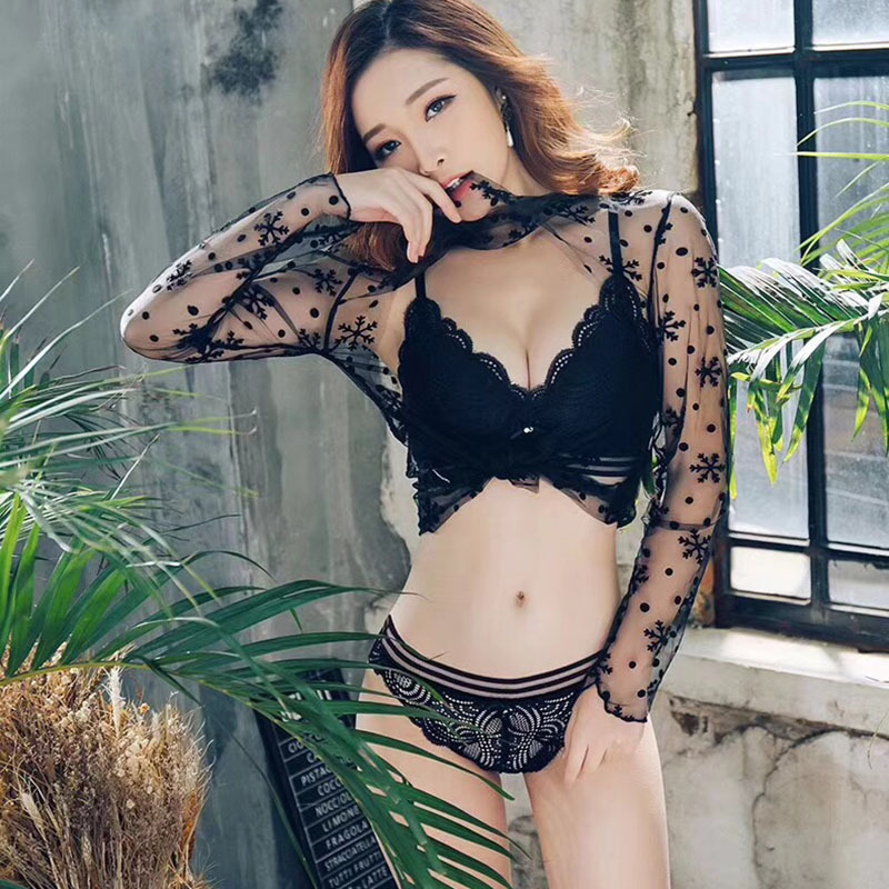 sexy mousse bra and panties sets women lace lingerie transparent elegant push up black underwear wire free knot bow underwear in Bra Brief Sets from Underwear Sleepwears