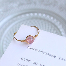 Pink Natural Strawberry Crystal Ring for Women Simple Style Finger Love Ladys Copper Wedding Rings Jewelry Gifts Bague