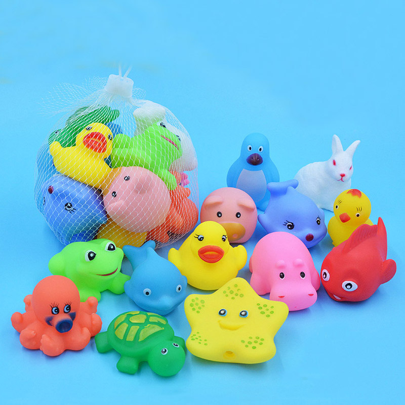 13 Pcs Mixed Animals Swimming Water Toys Colorful Soft Floating Rubber Duck Squeeze Sound Squeaky Bathing Toy For Baby Bath Toys rubber pig baby bath toy for kid