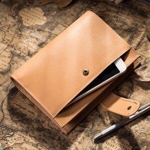 Image 1 - Capa de couro de vaca genuína retro viajante caderno diário diário vintage caderno de viagem artesanal