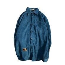 Corduroy Material Turn-down Preppy Style Shirt Men 2018 Autumn Solid Color Mens 4 Colors