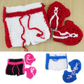 Boxing Gloves Shorts Costume Set Newborn Baby Photography Props Boys Boxer Outfit Shower Gift 3 Colors H206