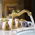 Gold copper bathroom counter basin sink faucets type three antique leading units