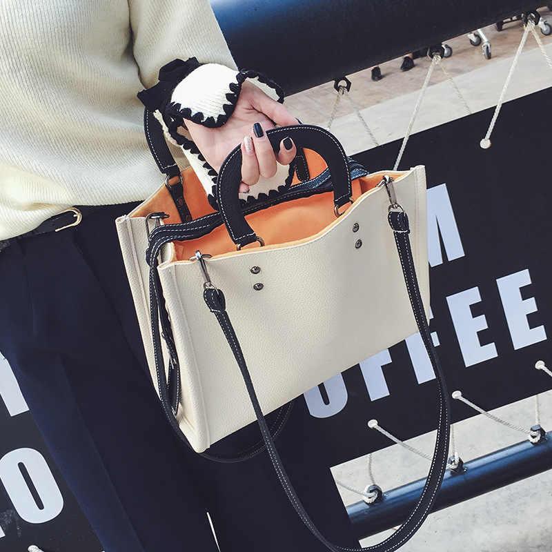 Outono e inverno novo chique saco do vintage cor sólida bolso duplo bolsa de ombro senhoras bolsa PU moda saco corpo cruz livre grátis