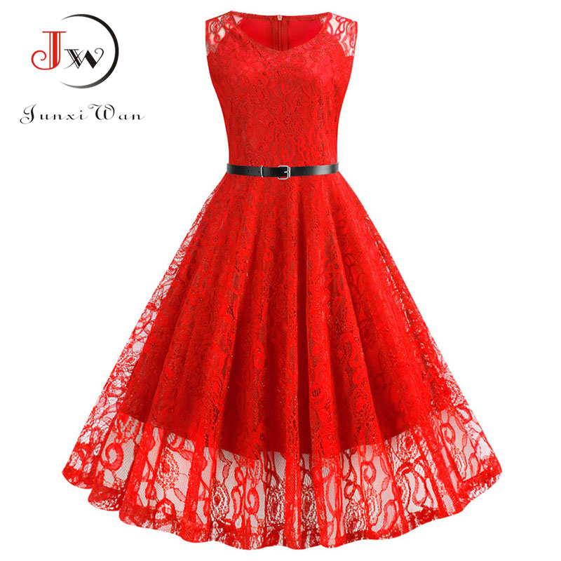 Lace Vintage Dress Women Summer Sleeveless Sexy Red Party Dresses Casual Elegant Midi Office Vestidos Robe Femme Plus Size
