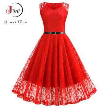 Lace Vintage Dress Women Summer Sleeveless Sexy Red Party Dresses Casual Elegant Midi Office Vestidos Robe Femme Plus Size 1