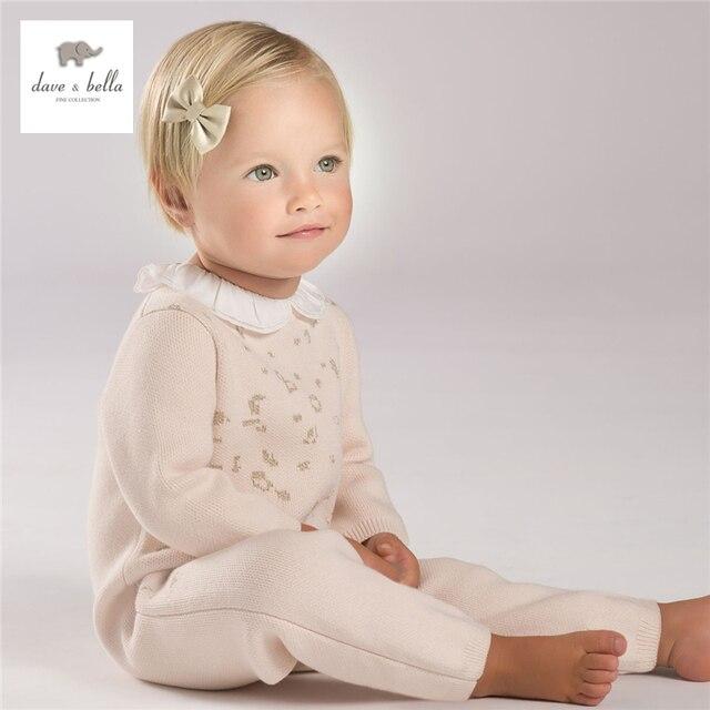 DB4017 дэйв белла осень осень девочки симпатичный розовый питер пэн воротник one piece toddle rompers младенческой ползунки