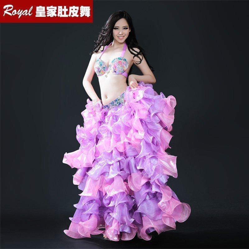 Nový taneční představení Dámské taneční oblečení Belly Dance Costume 3Pics Kompletní sada podprsenky, opasku a sukně S / M / L 8132