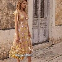Women Fruitpunch Sequin Midi Dress Adjustable Shoulder Ties Plunging Neck Embroidered 3 D Applique Flowers Tropical Midi Dress