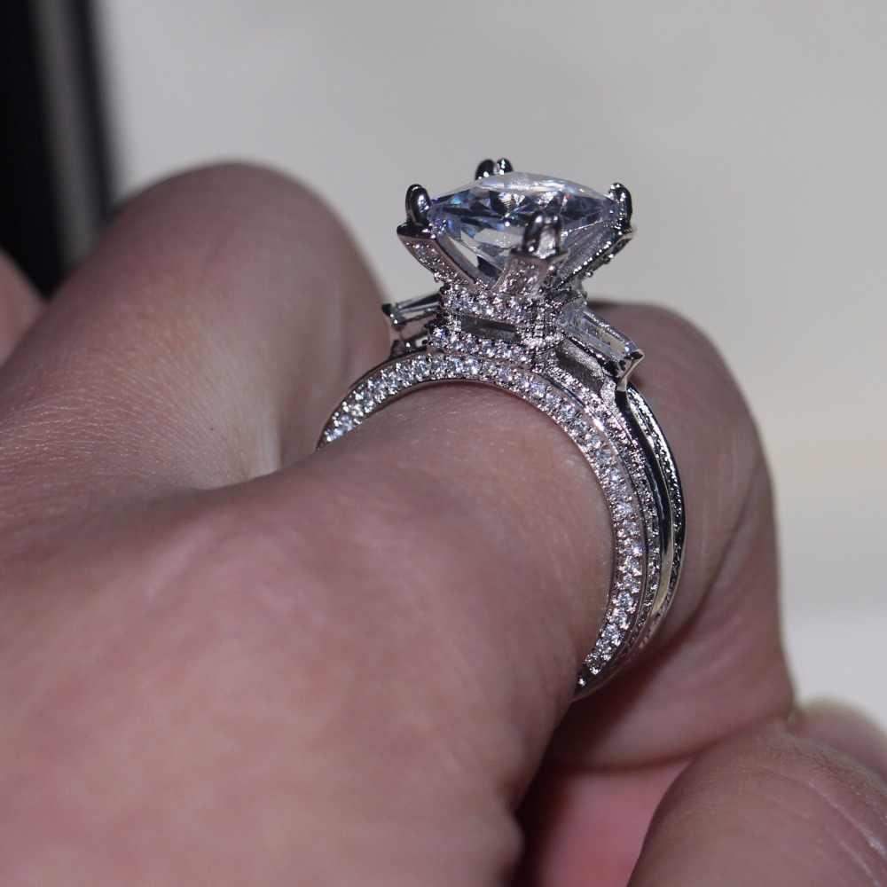 Vecalon Frauen Big Schmuck ring Prinzessin Cut 10ct AAAAA Zirkon stein 300 stücke Cz 925 Sterling Silber, Verlobung, Hochzeit Ring geschenk