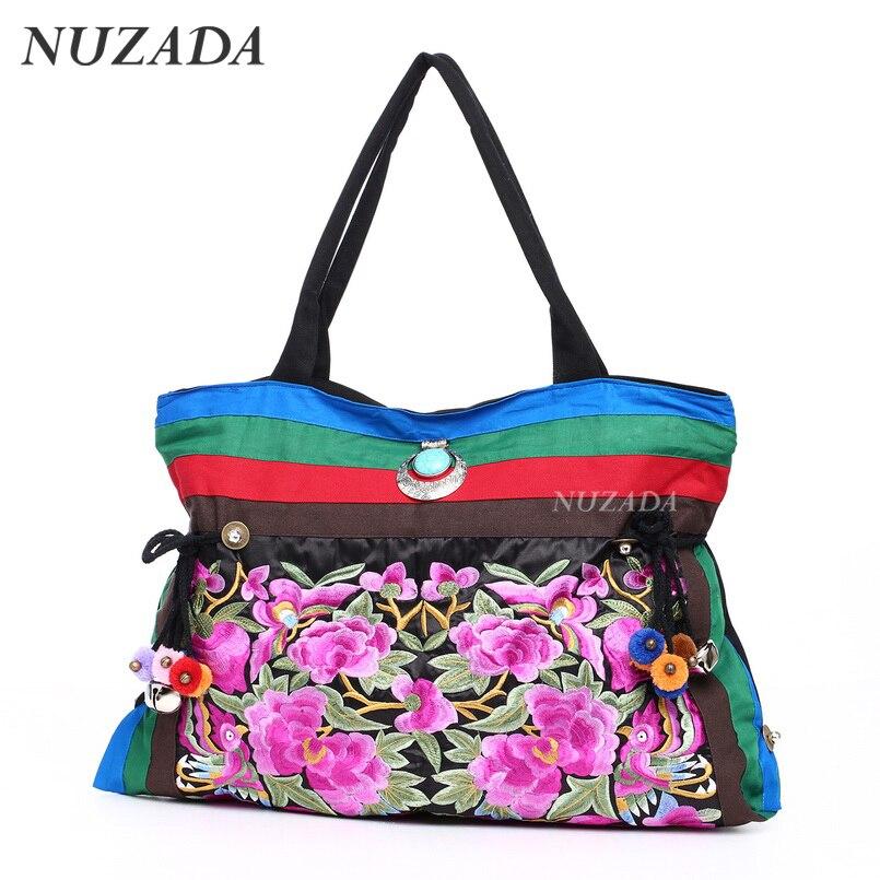 ФОТО NUZADA Shoulder Bag Woman National trend Embroidery Bags Single Faced Flower Embroidered One Shoulder Bag Big Handbag dsd-001