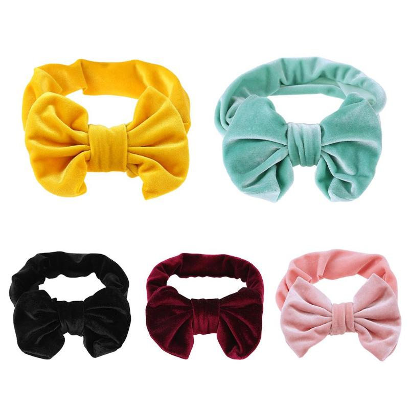 1PCS baby Girls 4colors pure Bow Hairband Turban Knot velvet Kids Headband New born Headwear Hair Band Accessories 13 colors lovely girls print floral rabbit ears hairband turban knot headband hair band accessories