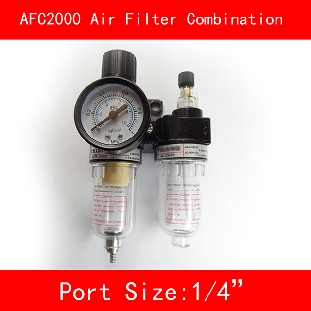 "AFC2000 Air Filter Regulator Combination Lubricator Combinations 1/4"" Port FRL Union Air Treatment Oil Water Separation"