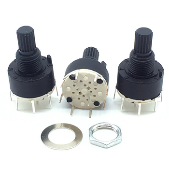 2 Pole 3/4 Position SR16 16mm Plastic Rotary Band Switch DC60V 0.3A 15MM Flower Axis Round Switch(each position:45°) image
