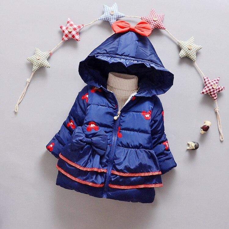 Sıcak Satış 2016 Kış Bebek Kız Minnie Mont Sıcak Açık Bebek Ceketler Çocuk Kabanlar Çocuk Kapşonlu Parkas Pamuk Mont