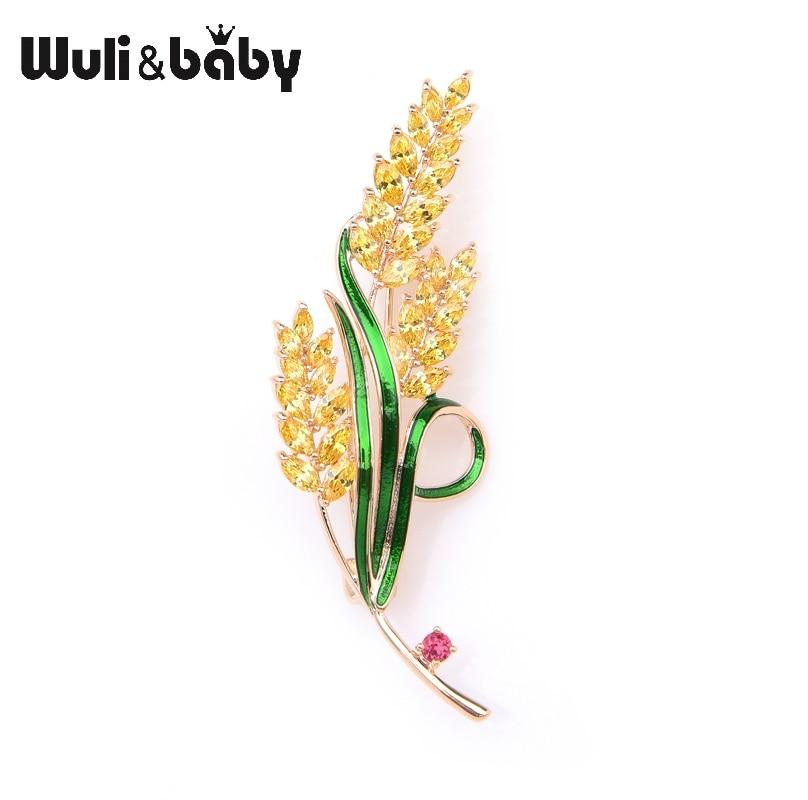 Wuli&baby Sparkling Yellow Crystal Wheat Enamel Brooches Women Men Weddings Banquet Brooch Pins Gifts