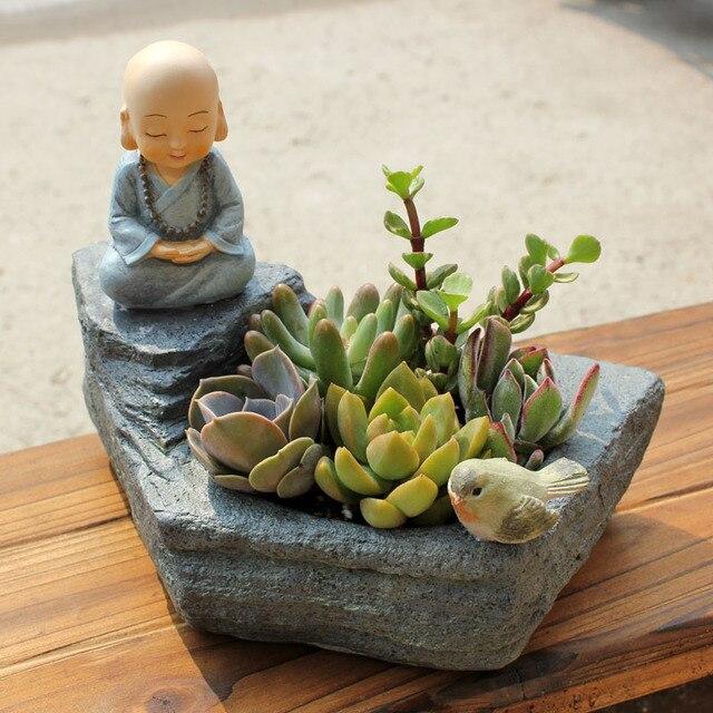 1pc Buddhism FENGSHUI Resin Flowerpot Succulent Plants Planter Monk Flower  Pot Home Garden Decoration Bonsai Planter