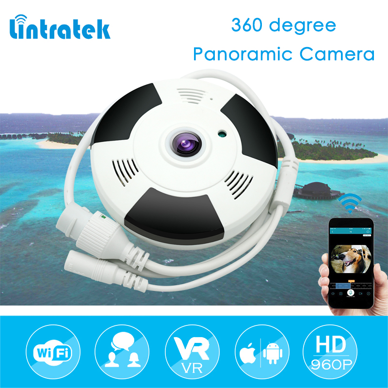 lintratek 1.3MP Wireless IP Camera Panoramic Wi-Fi FishEye Camera 360 Degree Mini CCTV Home Security HD 960P VR Camara IPCAM