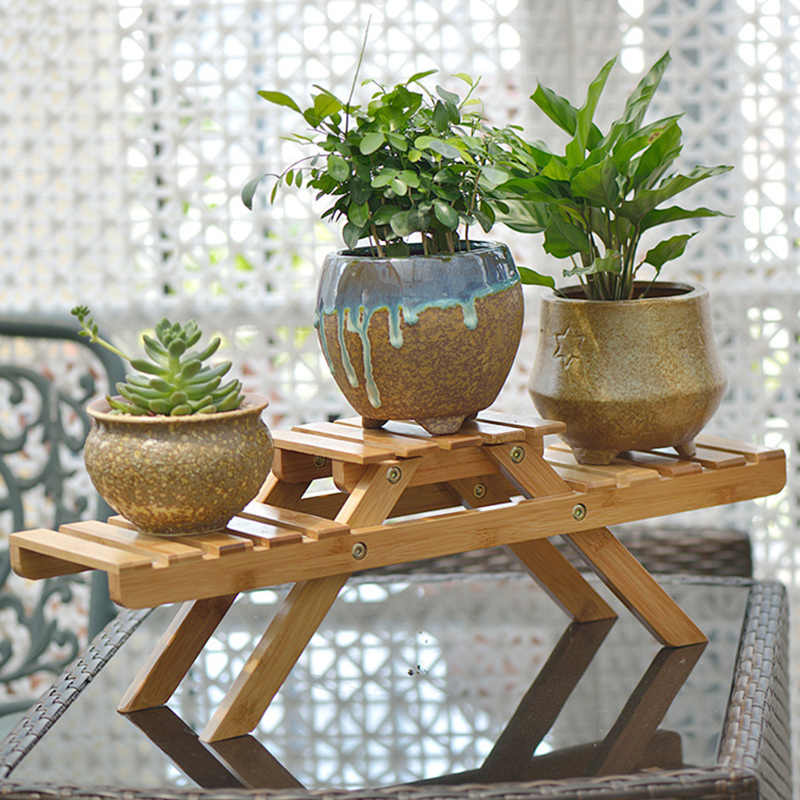 SEMPRE Eu Novas prateleiras De Plantas jardim De Flores Stand Rack exposição De Flores Stand Display Stand Titular Rack De armazenamento De prateleira De madeira De bambu