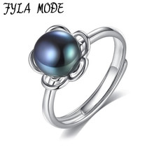 S925 Sterling Silver Ring Hollow Flowers Shape Jewelry Fashion Rings With 9-9.5mm Freshwater Pearls Black Grey For Women Gift