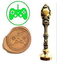 Video Game Console Button Vintage Custom Picture Logo Luxury Wax Seal Sealing Stamp Brass Peacock Metal Handle Gift Set