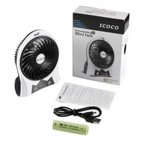 ICOCO Portable Mini Fan Durable USB Rechargeable Strong Wind Cooling Fan With Side Light For Room