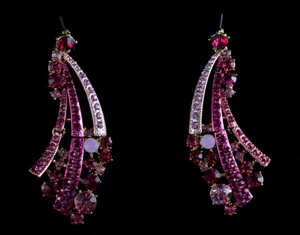 Elegant Lady S Crystal Drop Earrings Pink Color Fashion Party Rhinestone Women For Gift